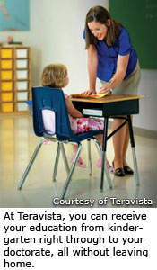 At Teravista, you can receive your education from kindergarten right through to your doctorate, all without leaving home.