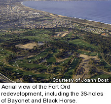 Aerial view of the Fort Ord redevelopment, including the 36-holes of Bayonet and Black Horse