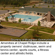 Amenities at Chapel Ridge include a property owners' clubhouse, swim and tennis center, sports courts, a fitness center and athletic fields