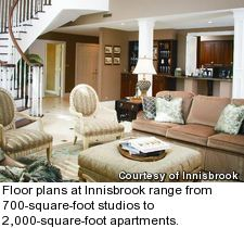 Floor plans at Innisbrook range from 700-square-foot studios to 2,000-square-foot apartments.